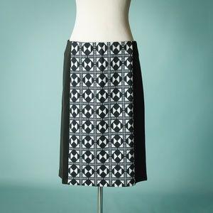 Eloquii 18 Black Pencil Geometric Print Skirt